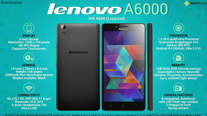 android smartphone lenovo a6000