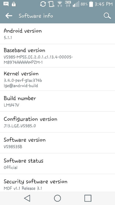 LG G3 android lollipop 5.1.1