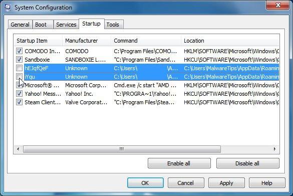 απενεργοποίηση του malware κατά την εκκίνηση του υπολογιστή