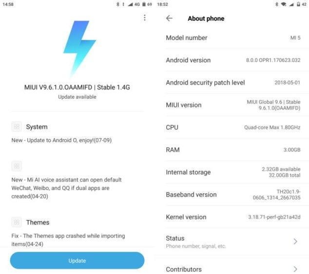 Xiaomi Mi 5 Android Oreo αναβάθμιση