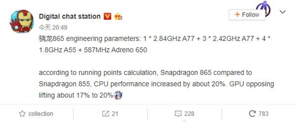 Snapdragon 865 leaks - Specs
