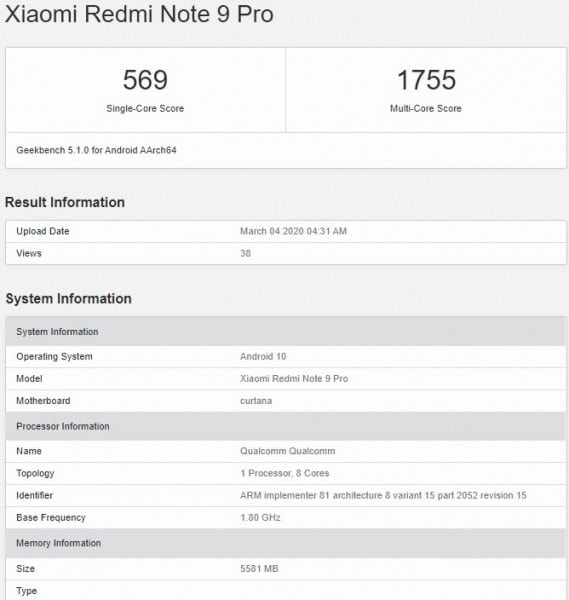 Το Redmi Note 9 Pro εμφανίστηκε στο Geekbench 2