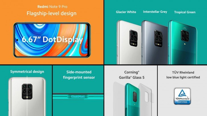 Xiaomi Redmi Note 9 Pro οθόνη και πλάτη