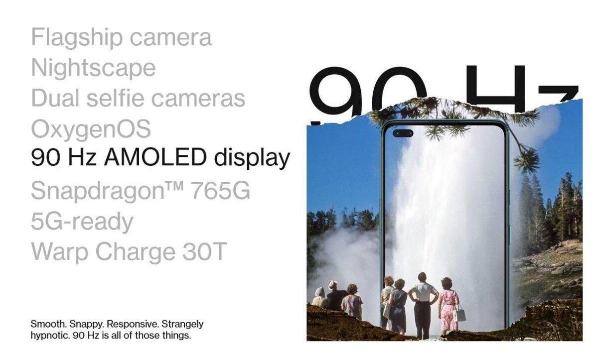 OnePlus Nord 90Hz οθόνη 5G SnapDragon 765G