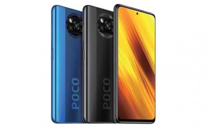 Poco X3 οθόνη και πλάτη σε γκρι και μπλε