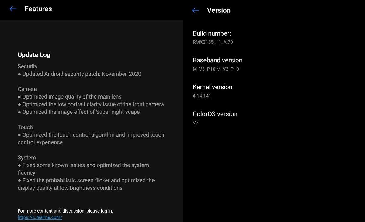 Realme 7 update RMX2155_11_A70