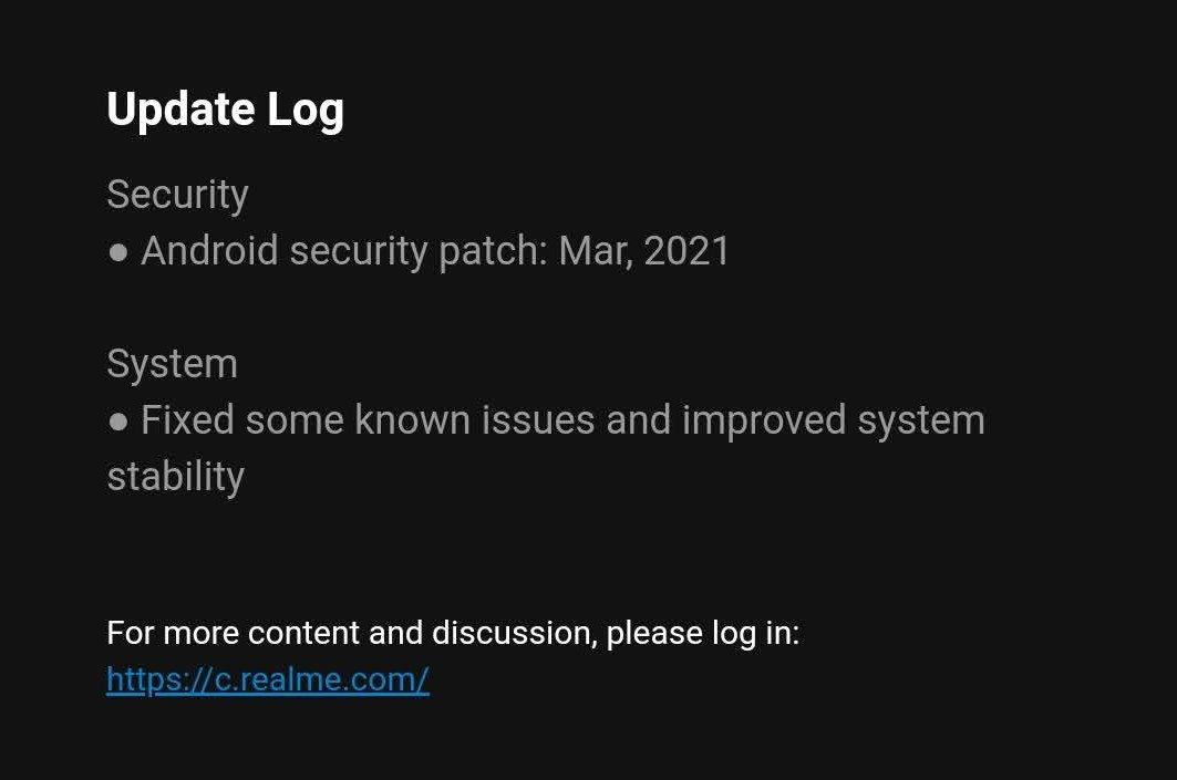 Realme 7 Pro ενημέρωση λογισμικού Μαρτίου